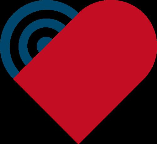心形蓝色红色矢量logo图标