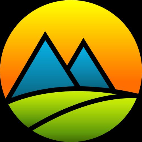 彩色太阳山树叶矢量logo图标