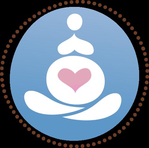 蓝色圆形母婴心形矢量logo图标