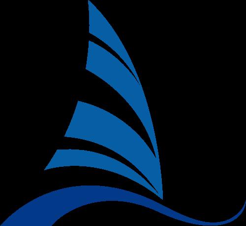 蓝色帆船矢量logo元素