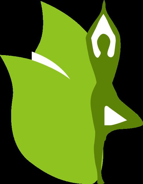 绿色叶子人物瑜伽矢量logo图片