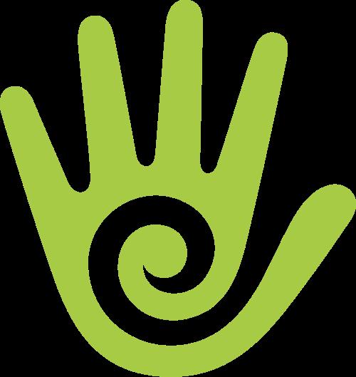 绿色手螺旋矢量logo