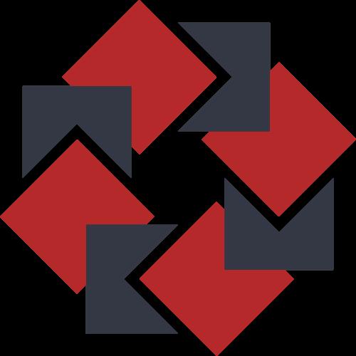 红色灰色正方形圆环矢量logo图标