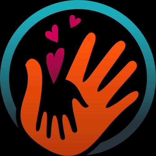 彩色手圆形心形矢量logo