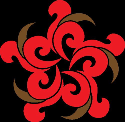 红色祥云花朵矢量logo