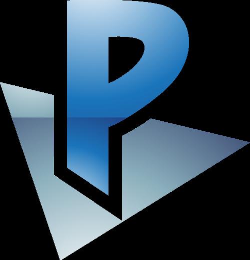 灰色蓝色字母P矢量logo图标矢量logo
