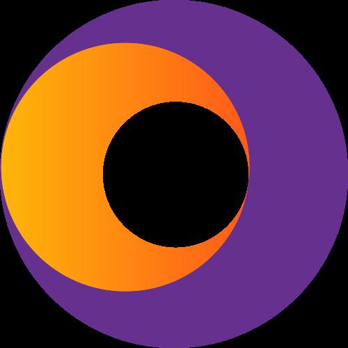 紫色橙色空心球体矢量logo
