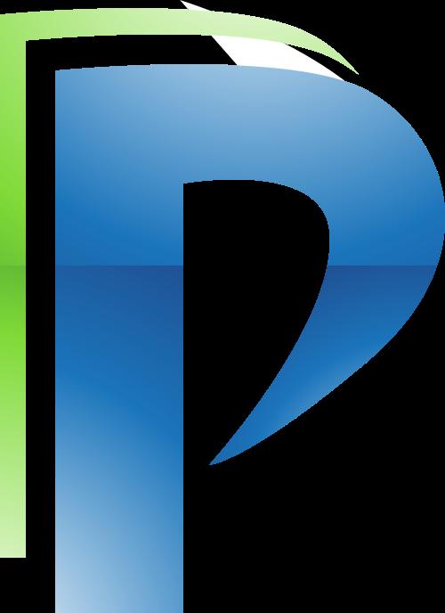 蓝色绿色字母P矢量logo图标