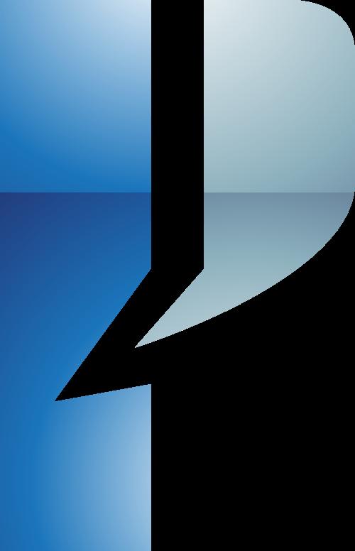 蓝色灰色字母P矢量logo图标