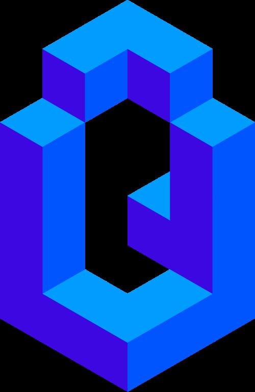 蓝色字母Q矢量logo图标