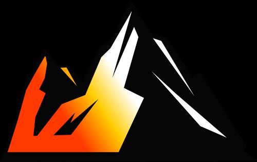 黑色红黄山脉矢量logo元素