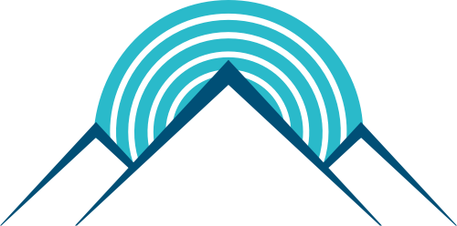蓝色山峰圆圈矢量logo