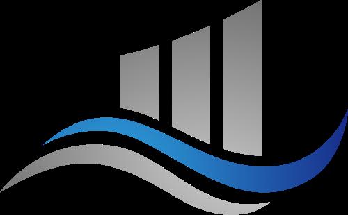 蓝色灰色波浪矢量logo