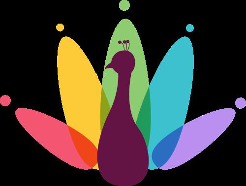 彩色天鹅矢量logo