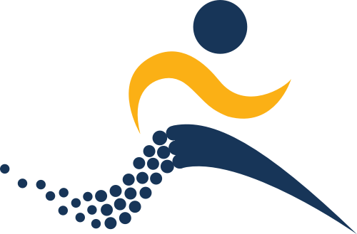 蓝色人物跑步矢量logo
