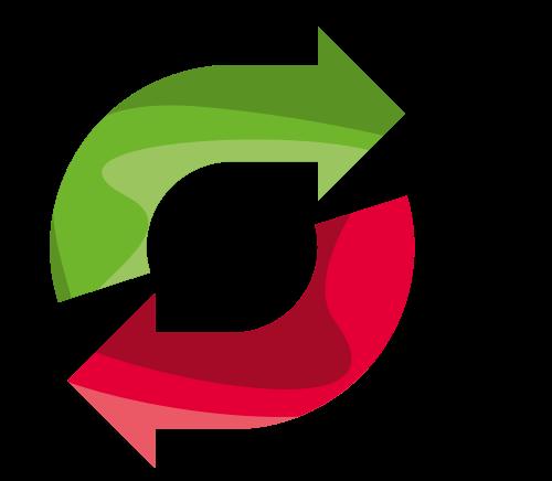 绿色红色循环标志矢量logo