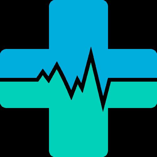 蓝绿色十字波动矢量logo元素