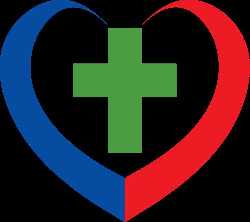 红绿蓝心形十字架矢量logo图标