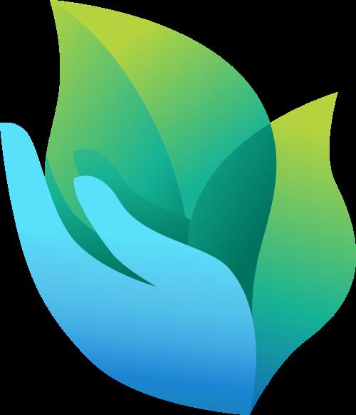 蓝色手叶子矢量logo元素