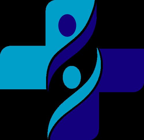 蓝色十字矢量logo元素