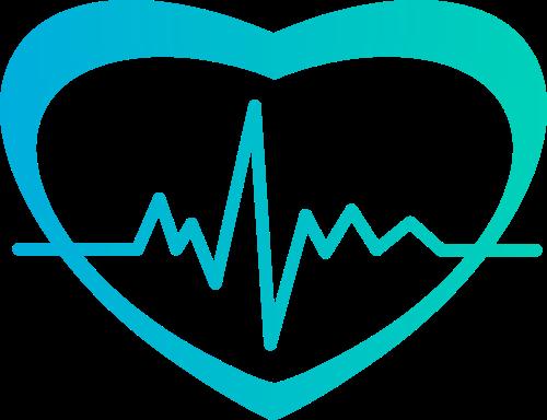 蓝色心形波动矢量logo
