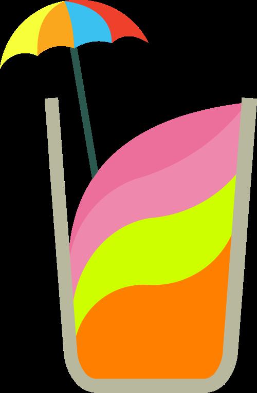彩色饮品雨伞矢量logo