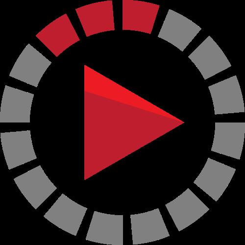 灰色红色圆形三角矢量logo