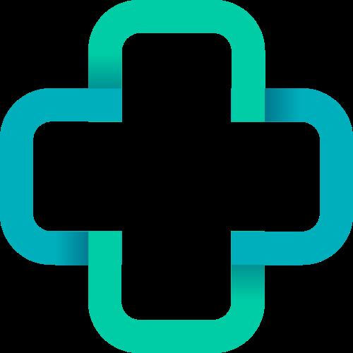 蓝绿色十字矢量logo图标