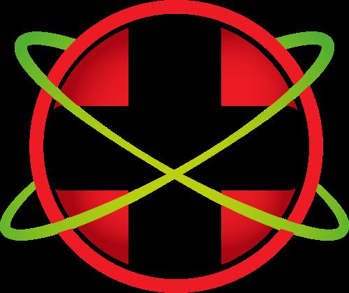 红色球形环绕十字矢量logo元素