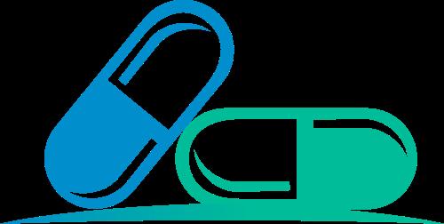 蓝色绿色药丸矢量logo元素