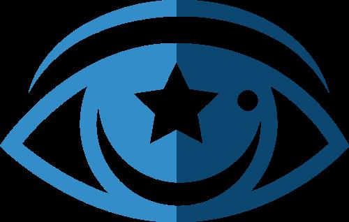 蓝色眼睛星星矢量logo图标