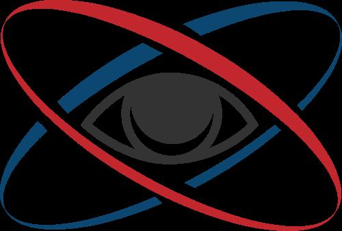 红蓝眼睛围绕矢量logo