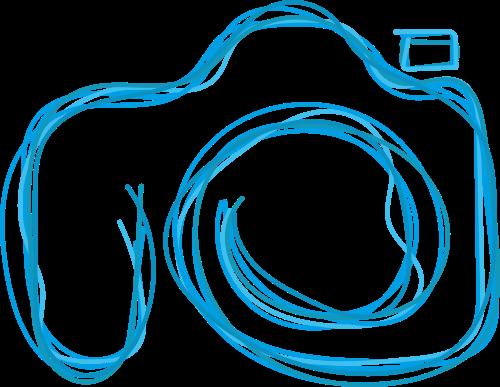 蓝色描边相机矢量logo