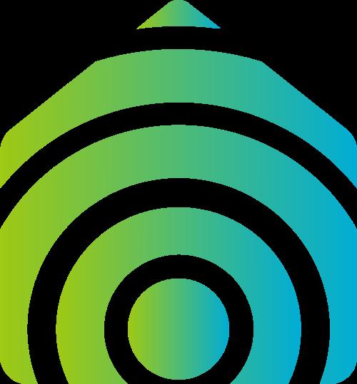 蓝绿色房子矢量logo元素