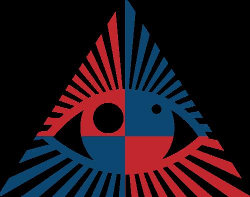 红色蓝色三角形眼睛矢量logo