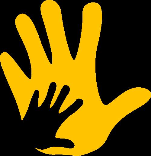 黄色大手小手矢量logo