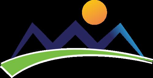 蓝绿黄山太阳矢量logo