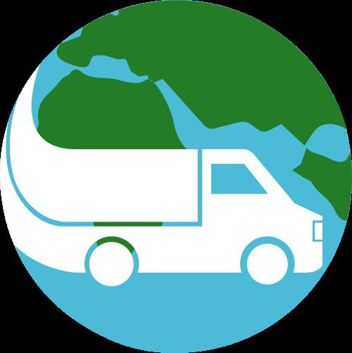 绿色货车地球球矢量logo元素