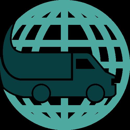 绿色地球货车矢量logo元素