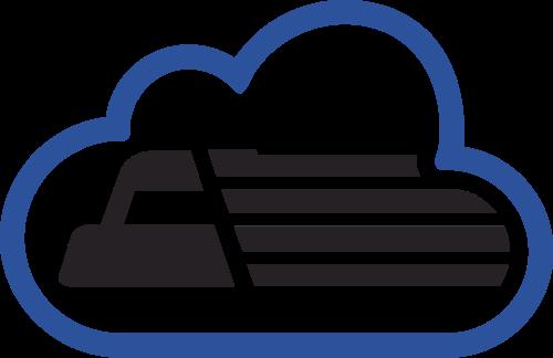 蓝色货车云朵矢量logo元素