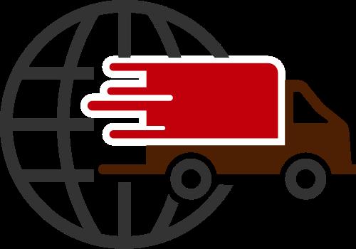 红色货车地球矢量logo矢量logo