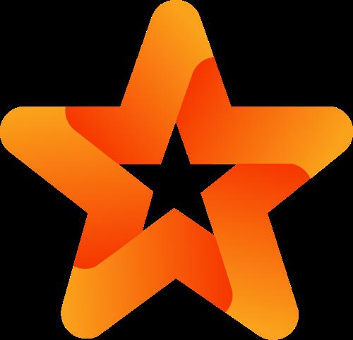 橙色五角星矢量logo元素