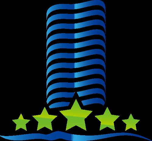 蓝绿色建筑矢量logo元素