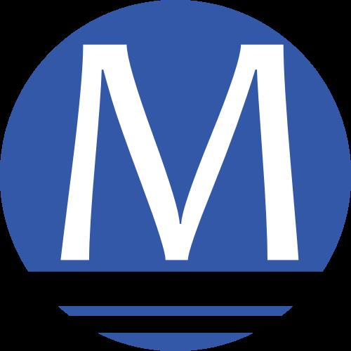蓝色圆形字母M矢量logo