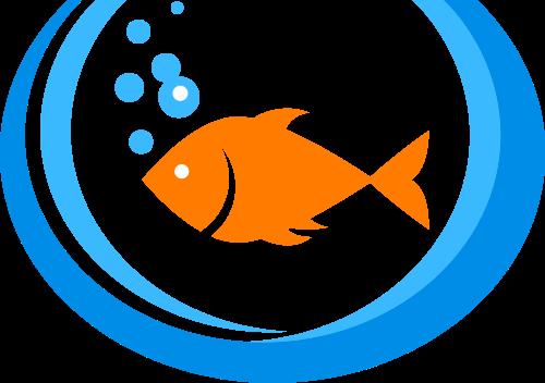 橙色鱼矢量logo
