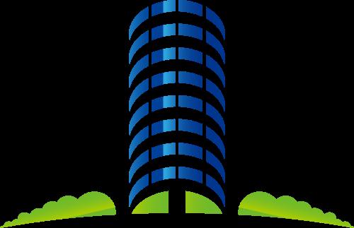 蓝绿色大楼矢量logo元素