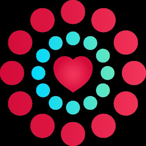 红色圆形心形矢量logo