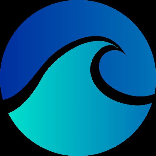 蓝色圆形海浪矢量logo图标矢量logo