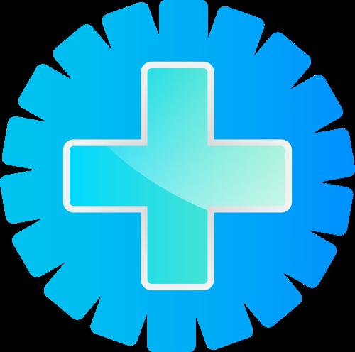 蓝色齿轮十字矢量logo