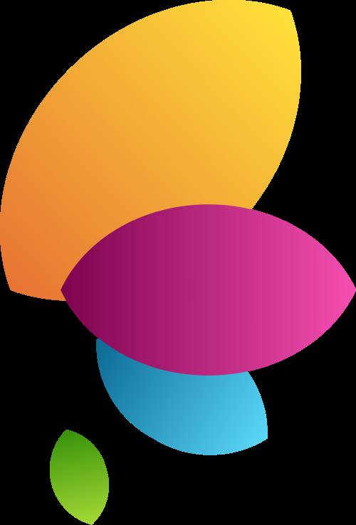 彩色叶子翅膀矢量logo
